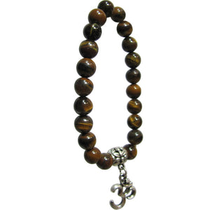 Fashion 8mm Natural Gemstone Yoga Stretch Bead Om Charm Tiger's Eye Bracelet - Ambali Fashion