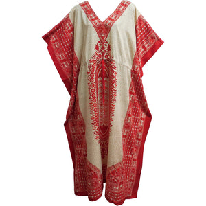 Bohemian Hippie Gypsy Chic Crepe Caftan Cover Up #52 Beige & Red - Ambali Fashion
