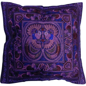 Ethnic Hmong Handcrafted Vintage Embroidered Cushion Throw Pillow Case Cover - Ambali Fashion