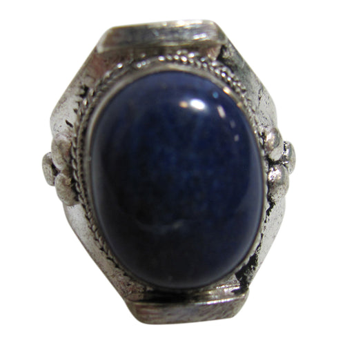 Unisex Ethnic Lapis Lazuli Silver-Tone Vintage Adjustable Ring #5 - Ambali Fashion