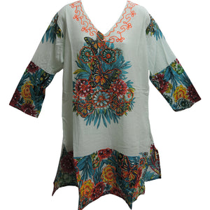 Indian Cotton Bohemian Multicolor Paisley Floral Long Tunic Top - Ambali Fashion
