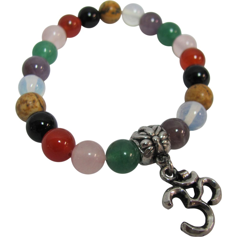 Fashion 8mm Seven Chakra Om Yoga Meditation Stretch Bead Charm Bracelet - Ambali Fashion