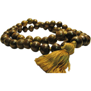 11mm 54ct Green Sandalwood Tibetan Buddhist Prayer Meditation Om Mala Bead Necklace - Ambali Fashion