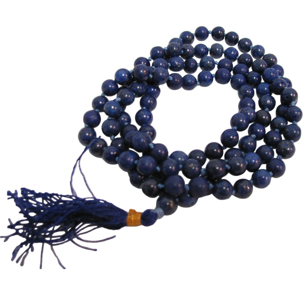 Lapis Lazuli Yoga Meditation Chakra Knotted Mala Prayer Bead Necklace - Ambali Fashion