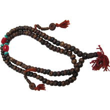 Tibetan 108ct Brown Bone & Turquoise & Coral Japa Mala Yoga Prayer Bead Necklace - Ambali Fashion