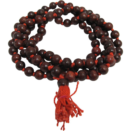 108 Rosewood Knotted Beads Japa Yoga Prayer Meditation Mala Bead Necklace - Ambali Fashion