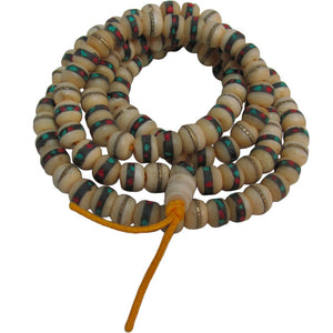 Tibetan Yak Bone Turquoise & Coral Inlaid Medicine Mala Prayer Bead Necklace - Ambali Fashion