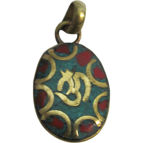 Yoga Meditation Hindu Turquoise Coral Inlay Brass Om Necklace Pendant w/ Pouch - Ambali Fashion