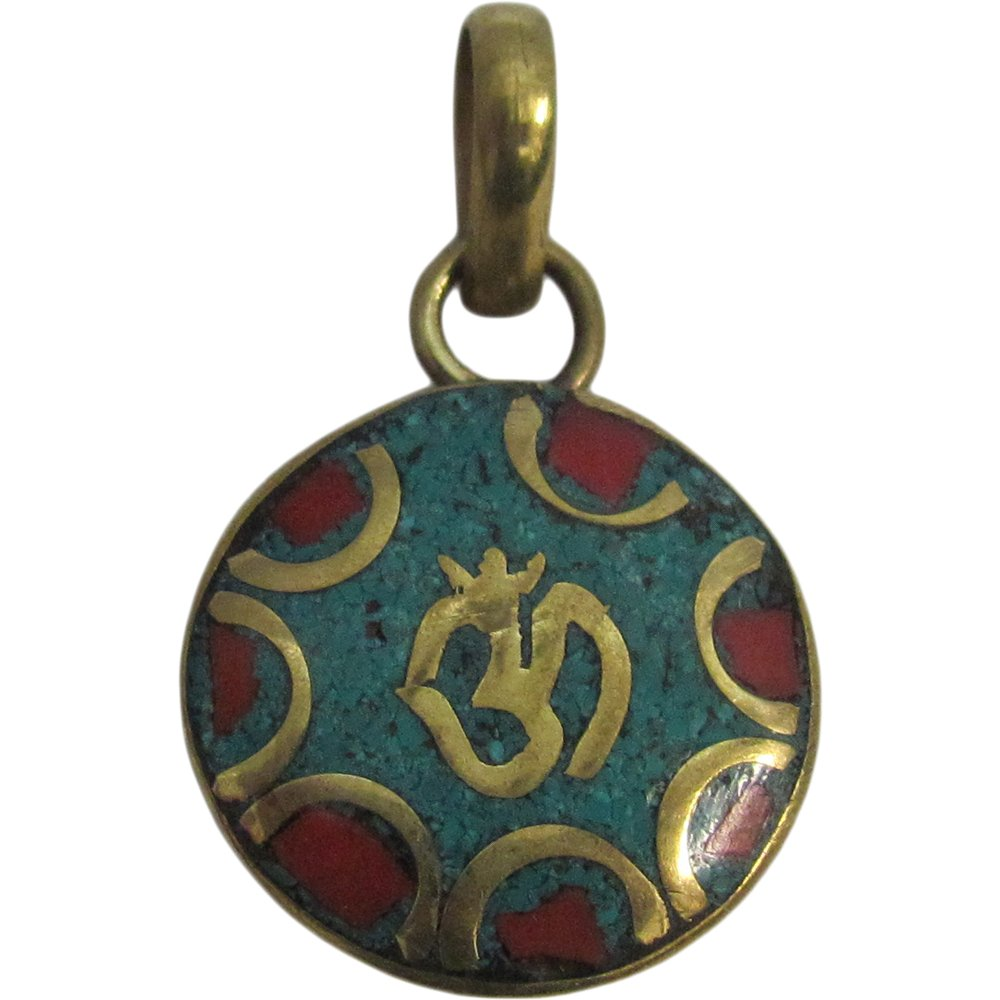 Yoga Meditation Hindu Turquoise & Coral Inlay Brass Om Necklace Pendant w/ Pouch - Ambali Fashion