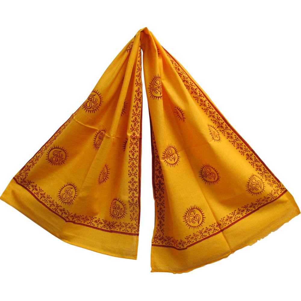 Saffron Yellow & Red Om Meditation Yoga Altar Cloth Prayer Shawl Scarf - Ambali Fashion
