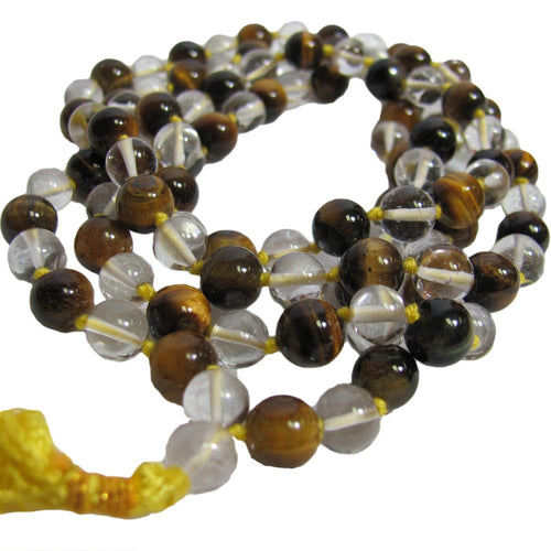 Handmade Tiger's Eye & Sphatik Quartz Yoga Prayer Mala Crystal Bead Necklace - Ambali Fashion