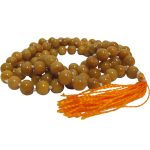 108ct Camel Jasper Yoga Meditation Knotted Mala Prayer Bead Necklace - Ambali Fashion