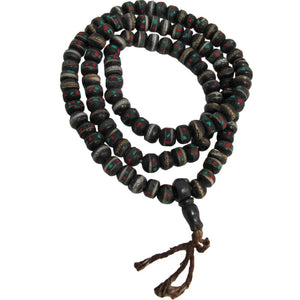 Tibetan Earth-Tone Yak Bone Medicine Turquoise & Coral Mala Prayer Bead Necklace - Ambali Fashion
