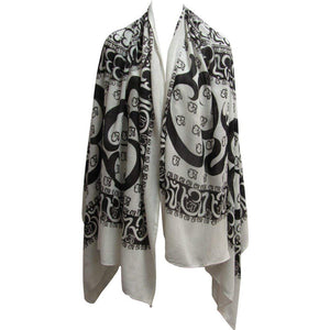 Om/Ohm Mantra Yoga Cotton Altar Cloth Prayer Shawl Black and White Scarf - Ambali Fashion