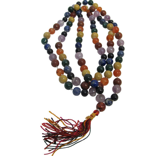 Seven Chakra Kundalini Prayer Yoga Mala Knotted Bead Necklace - Ambali Fashion