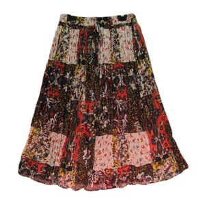 Multicolor Indian Gauze Cotton Crinkle Broomstick Long Floral Skirt #62 - Ambali Fashion