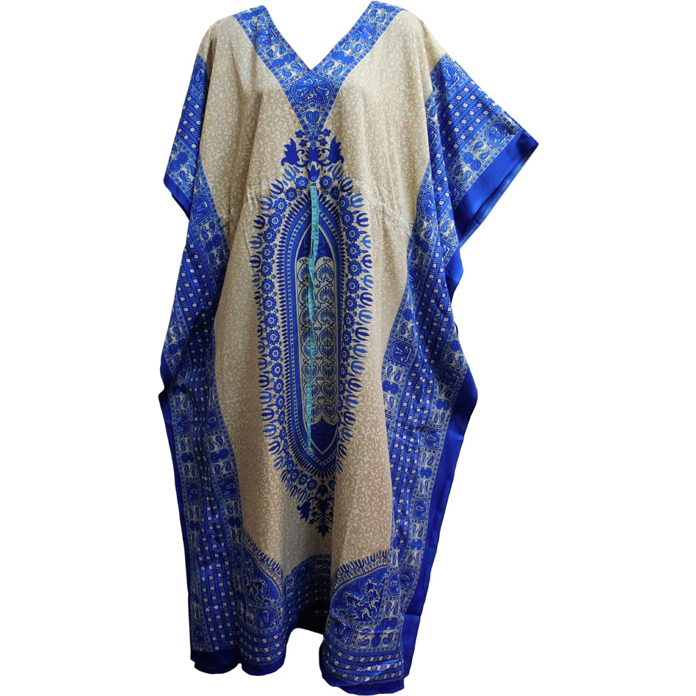 Bohemian Hippie Gypsy Chic Crepe Caftan Cover Up #63 White/Blue Dashiki - Ambali Fashion