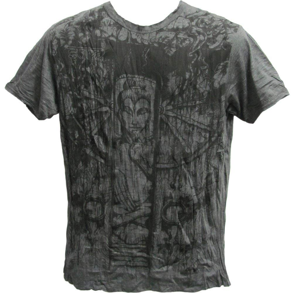 Men's Tibetan Yoga Hippie Sure Buddha Shiva Gray Crinkled Cotton T-Shirt - Ambali Fashion