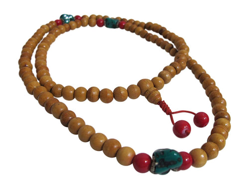 108 Count Earthtone Wood with Turquoise, Coral Bead Japa Prayer Yoga Meditation Mala Bead Necklace - Ambali Fashion