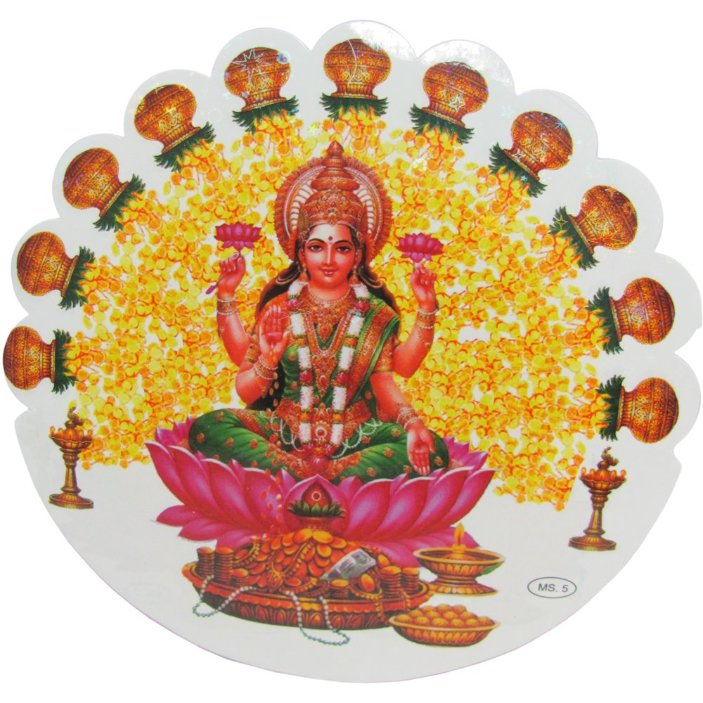 Shri Lakshmi Hindu Goddess of Wealth Yoga Meditation Art Decal Sticker (a) - Ambali Fashion