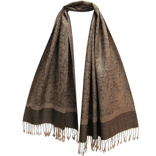 Reversible Jacquard Beige & Brown Paisley Pashmina Silk Scarf Shawl - Ambali Fashion