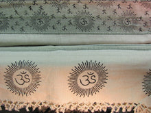 Indian Home Decor Bohemian Om Namah Shivay Sanskrit Cotton Ivory-Green Tab Top Curtain - Ambali Fashion