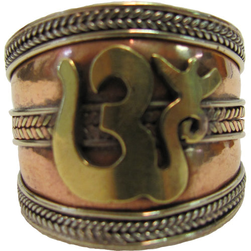 Sanskrit Om Ohm Three Metal Balance and Healing Yoga Ring - Ambali Fashion