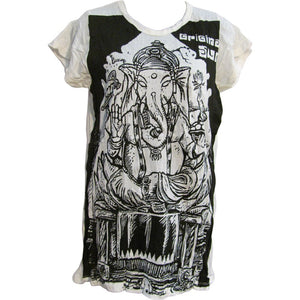Sure Hippie Yoga Ganesh Crinkled Cotton Short-Sleeve T-Shirt Blouse #153 - Ambali Fashion