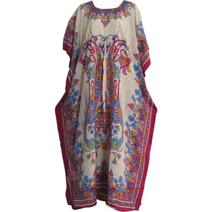 Bohemian Hippie Gypsy Chic Crepe Caftan Cover Up #74 Beige/Pink Paisley - Ambali Fashion