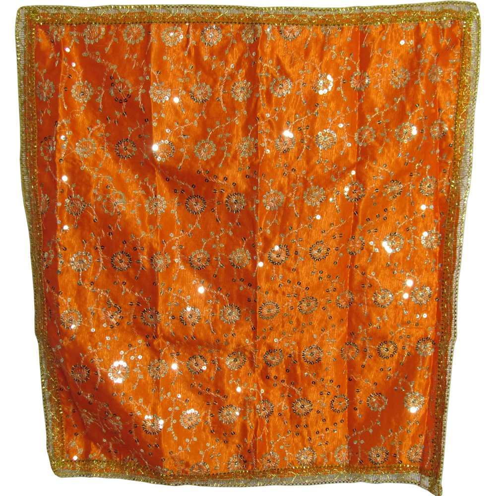 Indian Yoga Meditation Shimmer Sequin Silk Square Prayer Altar Cloth (25