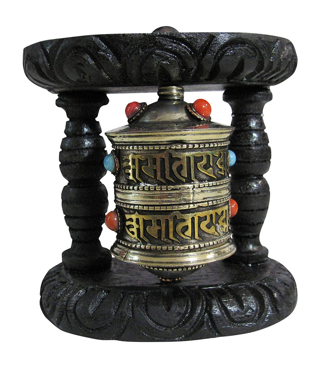 Tibetan Buddhist Two Tone Brass Copper Turquoise Coral Om Mani Padme Hum Prayer Wheel Wall Hanging - Ambali Fashion