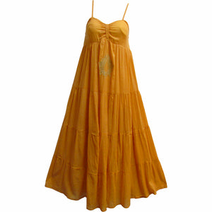 Women's Indian Cotton Long Tiered Beach Summer Maxi Dress Minaxi - Ambali Fashion