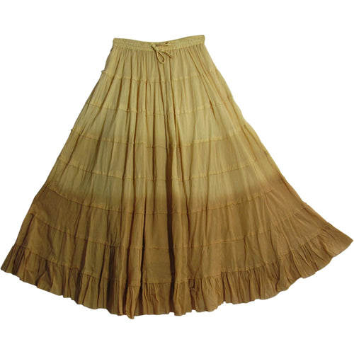 Missy Plus Bohemian Crinkled Cotton Broomstick Long Tiered Skirt Ombre - Ambali Fashion