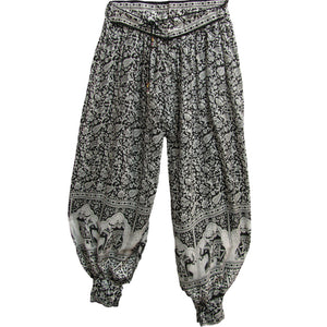 Indian Ethnic Bagroo Paisley Elephant Print Yoga Bohemian Harem Pants - Ambali Fashion