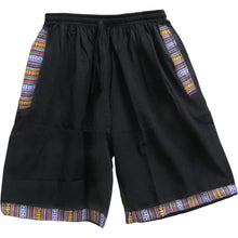Men's Woven Cotton Elastic Drawstring Three-Pocket Ethnic Print Shorts - Ambali Fashion