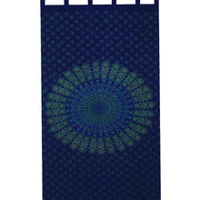 India Navy Blue Handloomed Cotton Mandala Peacock Tab Top Panel Curtain Window Covering - Ambali Fashion