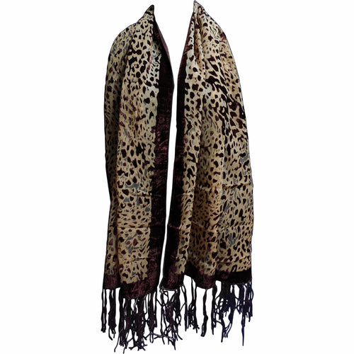 Burn Out Brown Velvet Border Fringed Lightweight Leopard Print Scarf Shawl Wrap - Ambali Fashion