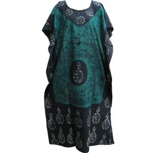 Indian Cotton Batik Paisley Floral Bohemian Long Caftan Dress - Ambali Fashion
