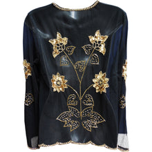 Missy Black Sequined Beaded Sheer Long Sleeve Evening Bolero Jacket Blouse Top (Gold) - Ambali Fashion