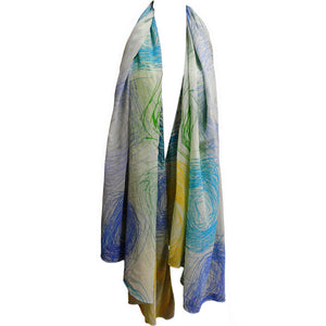 Blue & Green Spiral Design Fashion Sheer Chiffon Scarf Shawl JK401 - Ambali Fashion