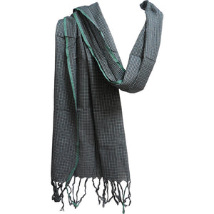 Indian Madras Cotton Yoga Checkered Fringed Gray Blue Plaid Scarf Muffler JK387 - Ambali Fashion