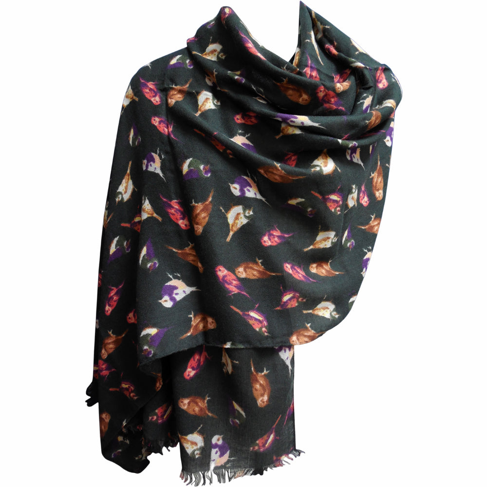 Lightweight Bird Design Long Trendy Black Fashion Scarf (28