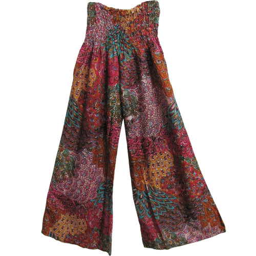 Indian Multicolor Peacock Paisley Bohemian Gypsy Yoga Palazzo Pants - Ambali Fashion