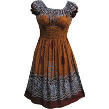 Mandala Print Mid-Length Smocked Puffed Cotton Short Sleeve Dress THNONA4 - Ambali Fashion