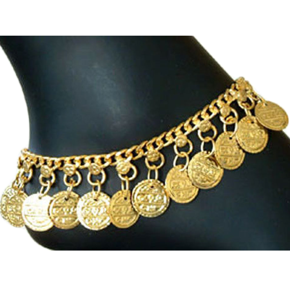 Indian Traditional Belly Dance Ghungroo Gold-Toned Brass Coin Anklet - Ambali Fashion