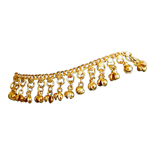Uma Indian Traditional Belly Dance Ghungroo Brass Anklet with Jingling Bells Gold-Tone - Ambali Fashion