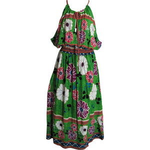 Plus Bohemian Sleeveless A-Line Long Floral Sundress TH HULA D - Ambali Fashion