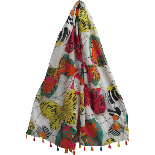 Indian Gauze Cotton w/ Tassels Shimmering Embroidered Long Butterfly Print Scarf JK384 - Ambali Fashion
