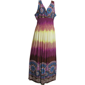 Border Print Smocked Waist Sleeveless Long Silk Maxi Dress Purple - Ambali Fashion