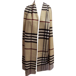Unisex Luxurious Fringed Soft Tan Plaid Scarf Muffler Shawl - Ambali Fashion